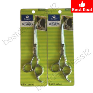 """(New) TOP PAW STRAIGHT SCISSORS 6.5"""" FOR DOGS, LONG HAIR (Pack of 2)"""
