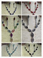 Wholesale 4 Sets Elegant Y Drop Diamante Necklace & Stud Drop Earrings UK Seller