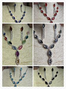 Elegant Y Drop Diamante Necklace & Stud Drop Earrings Set - Wedding Prom Bridal