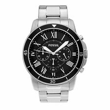Fossil Mens FS5236 Grant Sport Chronograph Black Dial Stainless Steel Watch