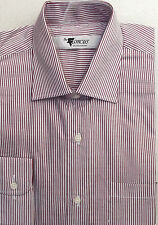 Mens striped shirt 15 1/2 NEW Cufflink or button Burgundy red white long sleeved