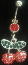 Dangle 14 Gauge Dangle Red Cherry Multi Stone Pave