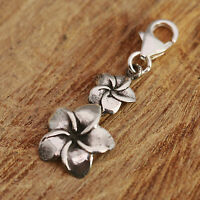 925 Sterling Silver Clip On Charm Frangipani Flowers Fit For Bracelet w Gift Box