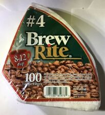 BREW RITE #4 Cone Coffee Filters PAPER 100 Count 8-12 Cup Drip Coffee Filters