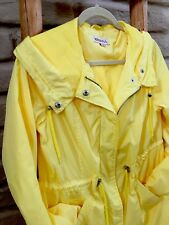 Womens Rain Jacket Yellow Merona Long Button/Zip Hooded Long Sleeve Size Small