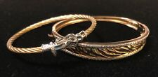 Pair Of Gold Washed /.925 Sterling Silver & Diamond Bracelets