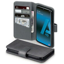 Quality Real Leather Wallet Case for Samsung Galaxy A40 - Grey