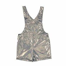 Adult Metallic look Dungarees Ladies Mens Shorts Hotpants Festival Fancy Dress