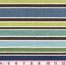 Richloom Blue Brown Stripe Indoor Outdoor Upholstery Fabric Chavez Opal BTY