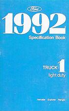 1992 Ford Service Spezifikation Manuell Ranger Explorer Aerostar Brille Buch