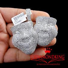 14K WHITE GOLD OVER STERLING SILVER HAPPY SAD FACE LAB DIAMONDS CHARM PENDANT