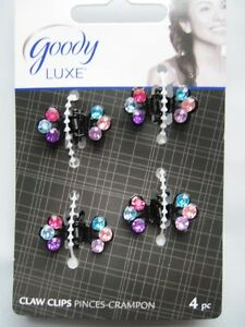 4 Goody Luxe Colorful Gem Mini Butterfly Small Metal Hair Claw Jaw Clips .5 Inch
