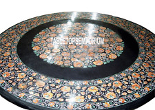 """36"""" Black Marble Dining Table Top Marquetry Carnelian Gems Inlay Furniture Decor"""
