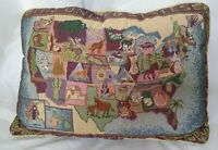 Vintage USA United States Map Throw Pillow Eddie Bauer Tapestry Patriotic Theme