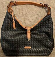 LEATHER HOBO FASHION shoulder bag tote Basketweaved Design SIMPLY Noelle black