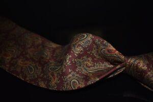 Brooks Brothers Makers Italian Silk Madder Heavy Brocade Paisley Burnt Wine Tie