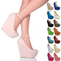 WOMENS LADIES HIGH WEDGE HEEL PEEP TOE PLATFORM SHOES ANKLE STRAP SANDALS SIZE