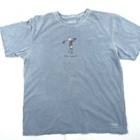 Life is Good. Mens Crusher Tee Shirt Blue Gray Golf  Large L