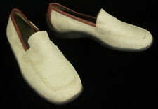 Donald Pliner Sport Shoes 6 Nadia Natural Beige Canvas Leather Loafers Italy
