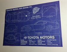 Toyota Supra A80 (Mark IV 4) Blueprint Specs Poster 27x39
