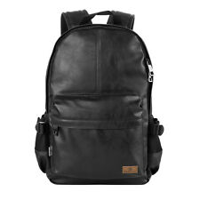 "Men's Vintage Classic Casual PU Leather Bag School Travel 14"" Laptop Backpack"