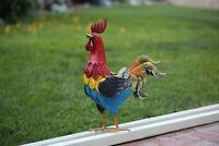"Outdoor/Indoor Accent Metal Hand Painted in USA Rooster Figurine Statue 16"" #1"