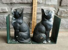 Original Paint * Pair of Cast Iron Cats Book Ends- Old - Lowest Price on eBay *