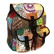 Patchwork & Black Suedette Backpack, Hippy, Boho, School, College,Bag