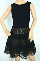 VALENTINO Floral Lace Panel Black Cocktail A Line Dress IT 40 42 / US 4 6 Small