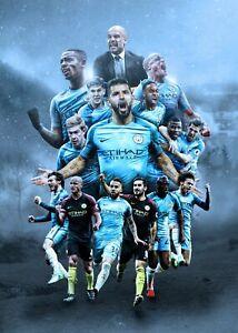 Manchester Man City Football Club Sport Print Poster Wall Fine Art Picture A4 +