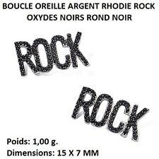 BOUCLE OREILLE RHODIE ROCK OXYDES NOIRS ROND NOIR   en Argent Massif 925