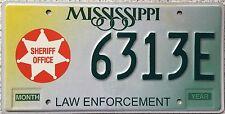 GENUINE Mississippi Law Enforcement Sheriff License Licence Number Plate 6313E