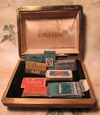 Vintage REMINGTON Shave Case with Gillette Norwalk Triangle Pal Peacok Blades