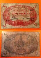 5 francs De La Banque De La Martinique