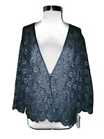 NEW ALEX EVENINGS Plus Size 2X Jacket Cardigan Top Blue Floral Lace 3/4th Sleeve