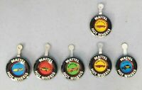 VINTAGE MATTEL HOT WHEELS SMALL METAL CAR BADGES, SET OF SIX