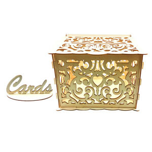 Wedding Card Box with Lock Wooden Gift Card Storage Box Wedding Decor Supplies