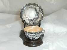 VINTAGE MINIATURE GRAY JAPANESE DRAGONWARE CUP & SAUCER SET WITH STAND JAPAN