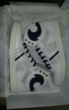 $800.00 Versace White and Black Mesh Medusa Head High-Top Sneakers Size 9 EU 42