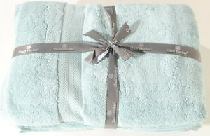 "Sterling Blue Bath Sheet Set of 2 100% India Cotton 32""x64""  Dell'Arte Luxury"
