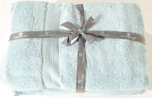 "Sterling Blue Bath Sheet Set of 2 100% India Cotton 32""x64""  Dell'Arte Luxury"