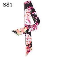 Flower Silk Twilly Scarf Long Ribbon Bowtie Hair Handbag purse handle Wrap