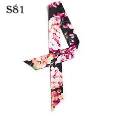Flower Black Silk Twilly Scarf Long Ribbon Bowtie Hair Handbag purse handle Wrap