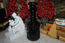 WONDERFUL VINTAGE MOLDED BLACK COLORED GLASS LARGE CABINET LIQUOR DECANTER