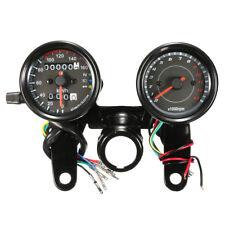 Universal Black 12V Motorcycle LED Light Odometer + Tachometer Speedometer Gauge