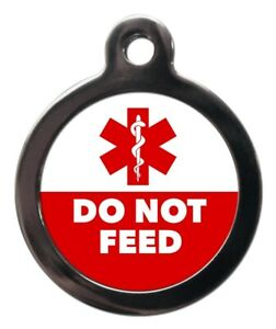 Pet ID ICE  tag Medical Alert DO NOT FEED  & Staff of Asclepius personalised