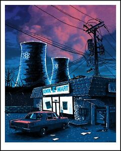"""Night Falls on the SNPP"" SIMPSONS print by TIM DOYLE Nakatomi"