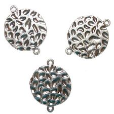 M7123p Antiqued Silver 24mm Flat Round Hammer Textured Metal Link Bead 10pc