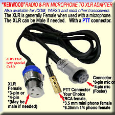 KENWOOD MICROPHONE CABLE, 8-PIN, (FOSTER), to 3-PIN XLR, (F/M) & PTT AMATEUR HAM
