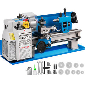 """Mini Tornio di Precisione in Metallo da 550W 7""""x14"""" Durevole Piano da Banco"""